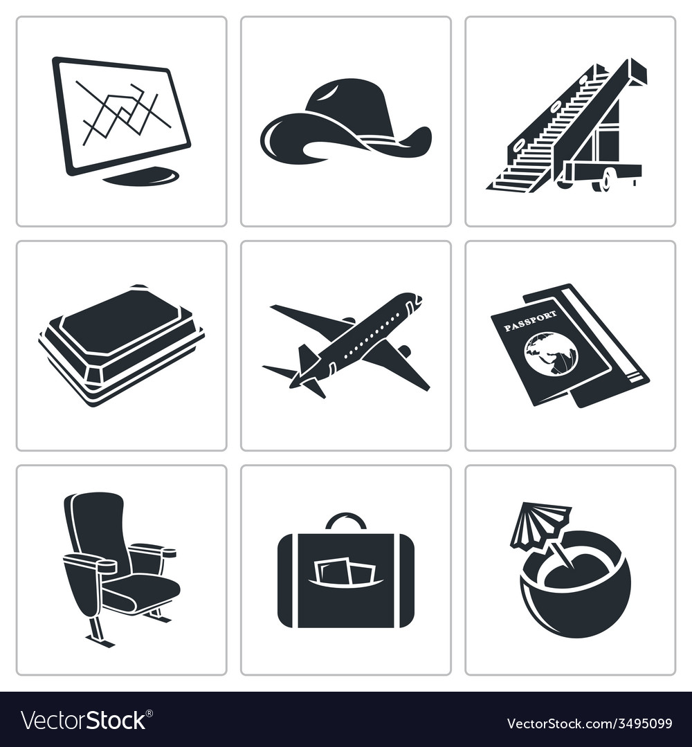 Airplane icon set vector | Price: 1 Credit (USD $1)