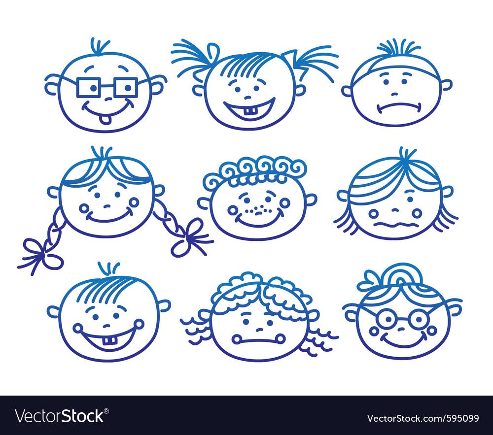 Baby cartoon faces vector | Price: 1 Credit (USD $1)