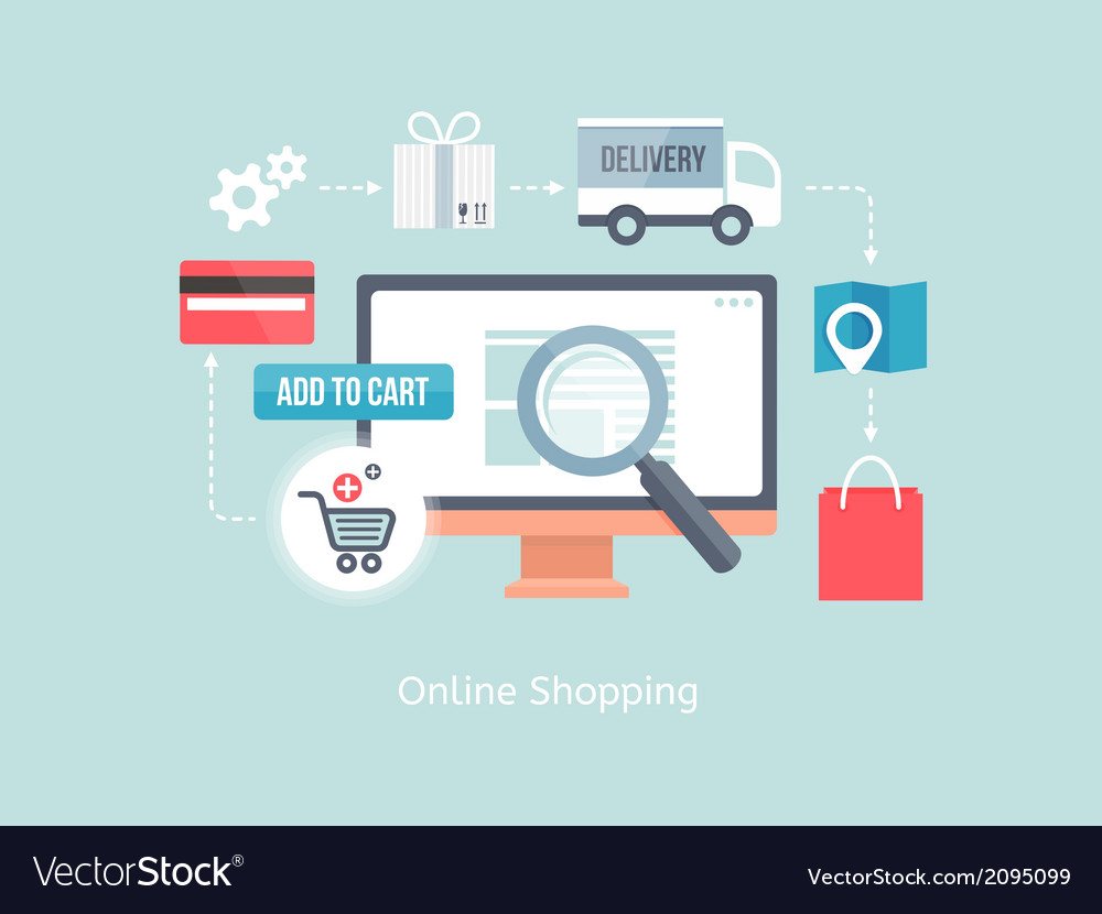 Buying online and e-commerce vector | Price: 1 Credit (USD $1)