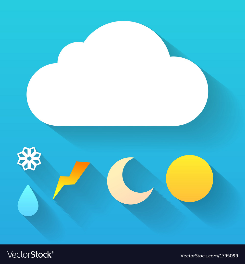 Day cloud and collection of signs isolated on blue vector | Price: 1 Credit (USD $1)