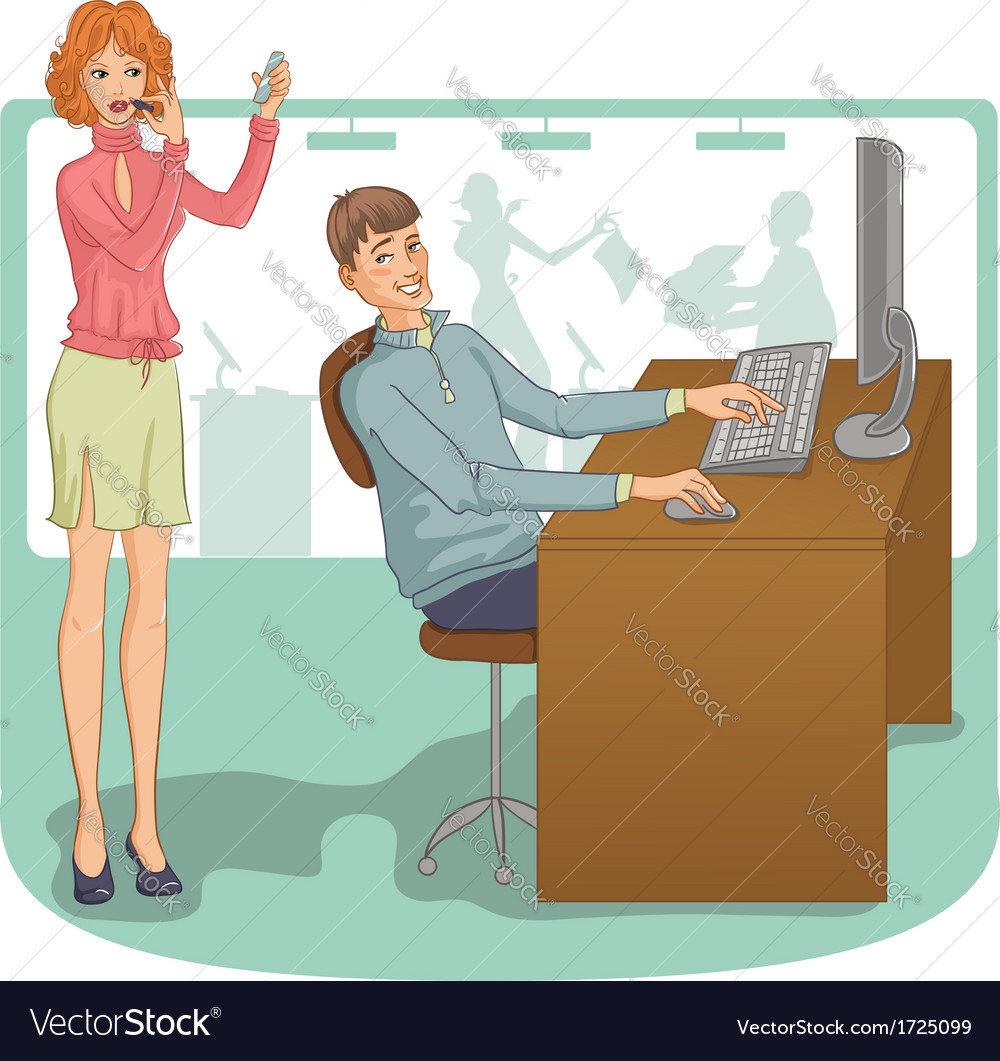 Flirt at work vector | Price: 1 Credit (USD $1)