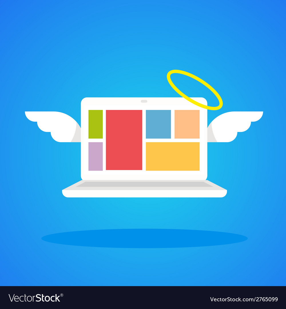 Laptop angel with wings and a halo on a blue vector | Price: 1 Credit (USD $1)