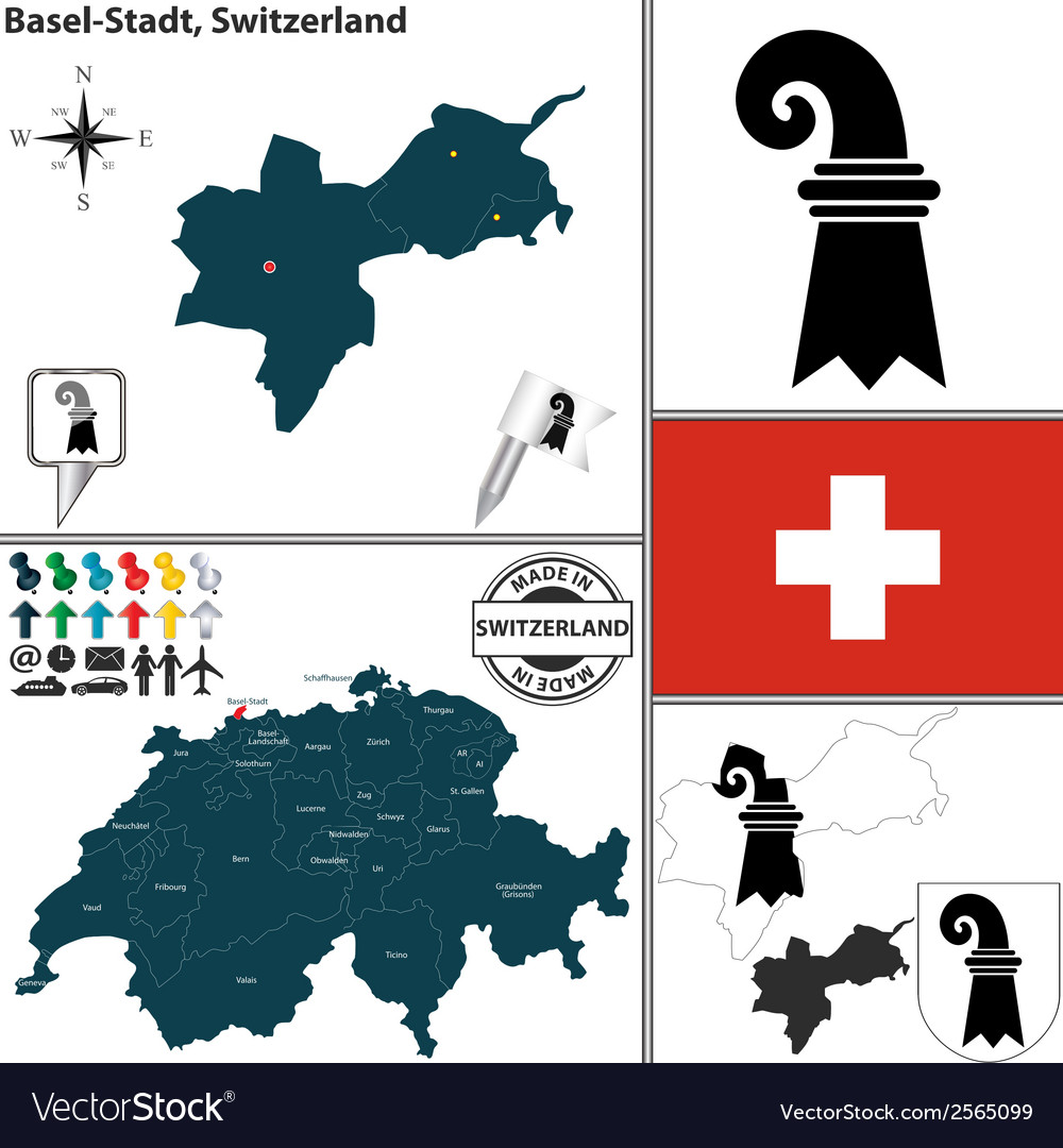 Map of basel stadt vector | Price: 1 Credit (USD $1)