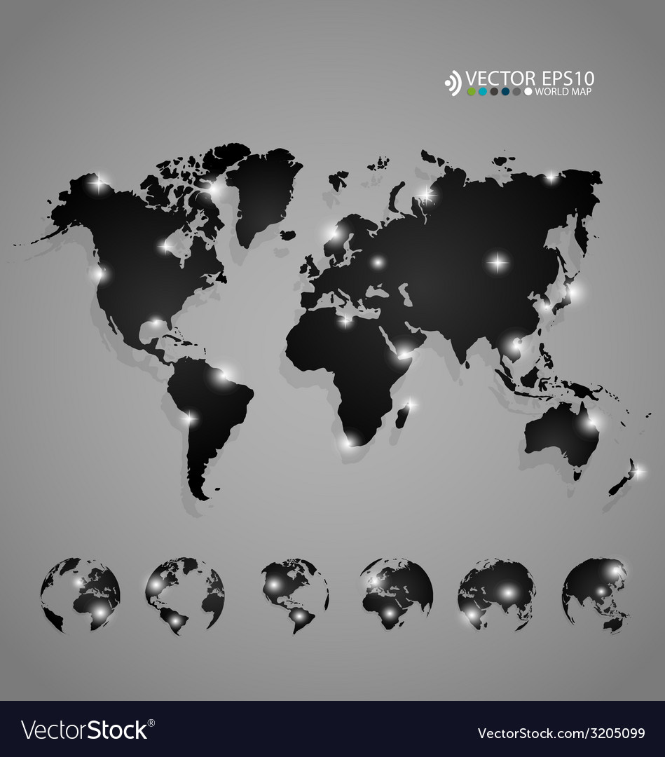 Modern world map design vector | Price: 1 Credit (USD $1)