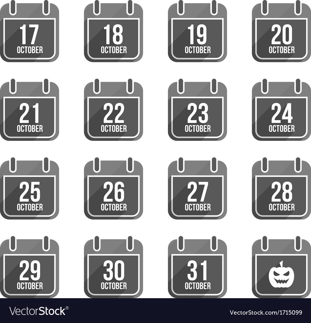 October flat calendar icons with long shadow set 2 vector | Price: 1 Credit (USD $1)