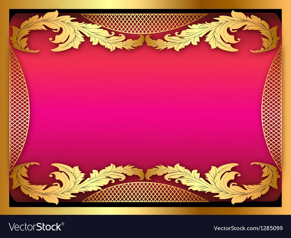 Pink background with gold ornament of leaves vector | Price: 1 Credit (USD $1)
