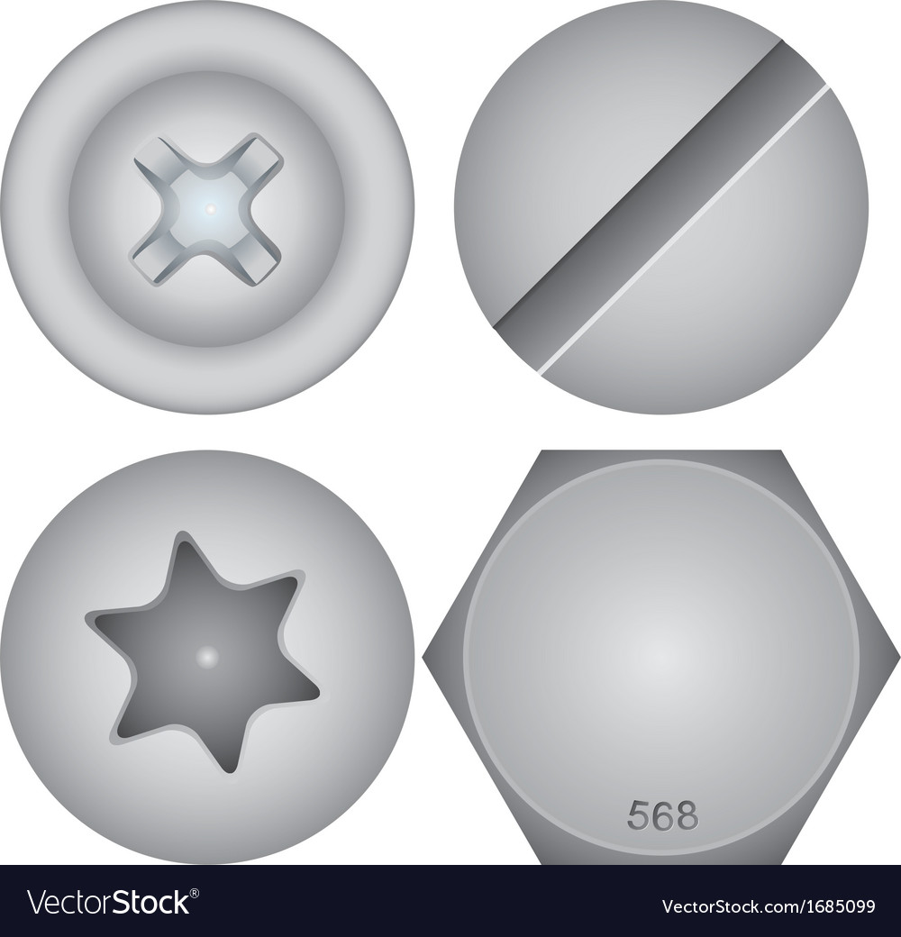 Screw heads vector | Price: 1 Credit (USD $1)