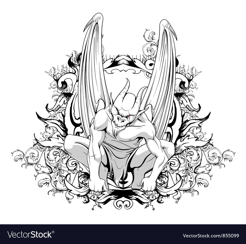 Vintage t-shirt design with gargoyle vector | Price: 1 Credit (USD $1)