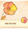 Red orange and yellow flowers greeting card vector