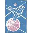 Soyuz over earth color vector
