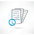 Document with clocks grunge icon vector