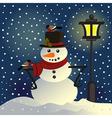 Snowman under lantern vector