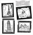 World landmarks stamps vector