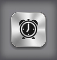 Alarm clock icon - metal app button vector