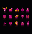 Stylized animals 2 black background vector