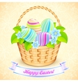 Easter bucket with flowers and decorated eggs vector