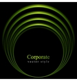 Glow green curve logo on black background vector
