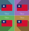Flags taiwan set of colors flat design and long vector