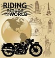 Riding around the world vector
