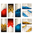 Set of beautiful gift cards with color gift bows vector