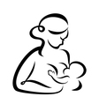 Young woman breastfeeding her baby symbol vector