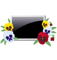 Photo frame in the violets vector