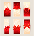 Set of beautiful gift cards with red gift bows and vector