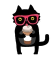 Cartoon doodle cat with hipster glasses and coffee vector