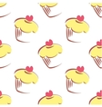 Tile pattern with lemon yellow cupcakes vector
