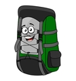 Green cartoon rucksack or backpack vector