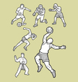 Male sport icons sketch vector