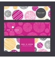 Abstract textured bubbles horizontal banners set vector