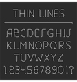 Line alphabet and numbers vector