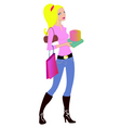 Woman during the shopping vector
