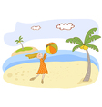 Girl play ball on the beach vector