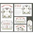 Vintage wedding design template setfloral decor vector