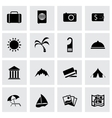 Black travel icons set vector