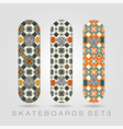 Skateboard set girly tracery vector