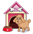 A puppy outside the doghouse vector