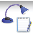 Desk lamp and pen vector