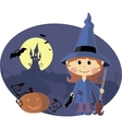 Young witch with pumpkin at halloween night vector
