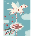 Carousel horse and apples happy birthday card vector