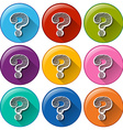 Round buttons with question marks vector