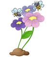Two bees near the blooming flowers vector