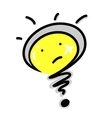 Cartoon of a light bulb question mark vector
