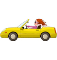 Woman in a car vector
