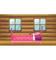 Pink bed in wooden room vector