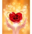 Love concept holding a red heart in hands vector