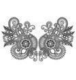 Ornamental floral neckline embroidery fashion vector