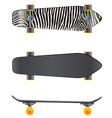 A top and side view of a skateboard vector